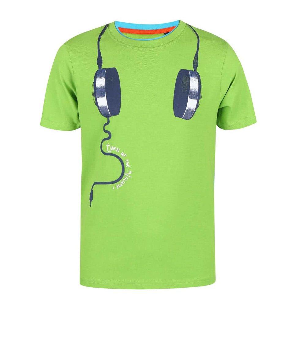 Zelené dětské triko s potiskem sluchátek Blue Seven