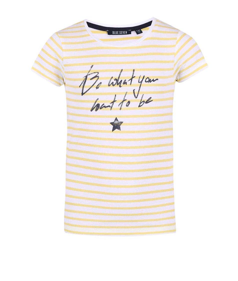 Žluté holčičí pruhované tričko Blue Seven