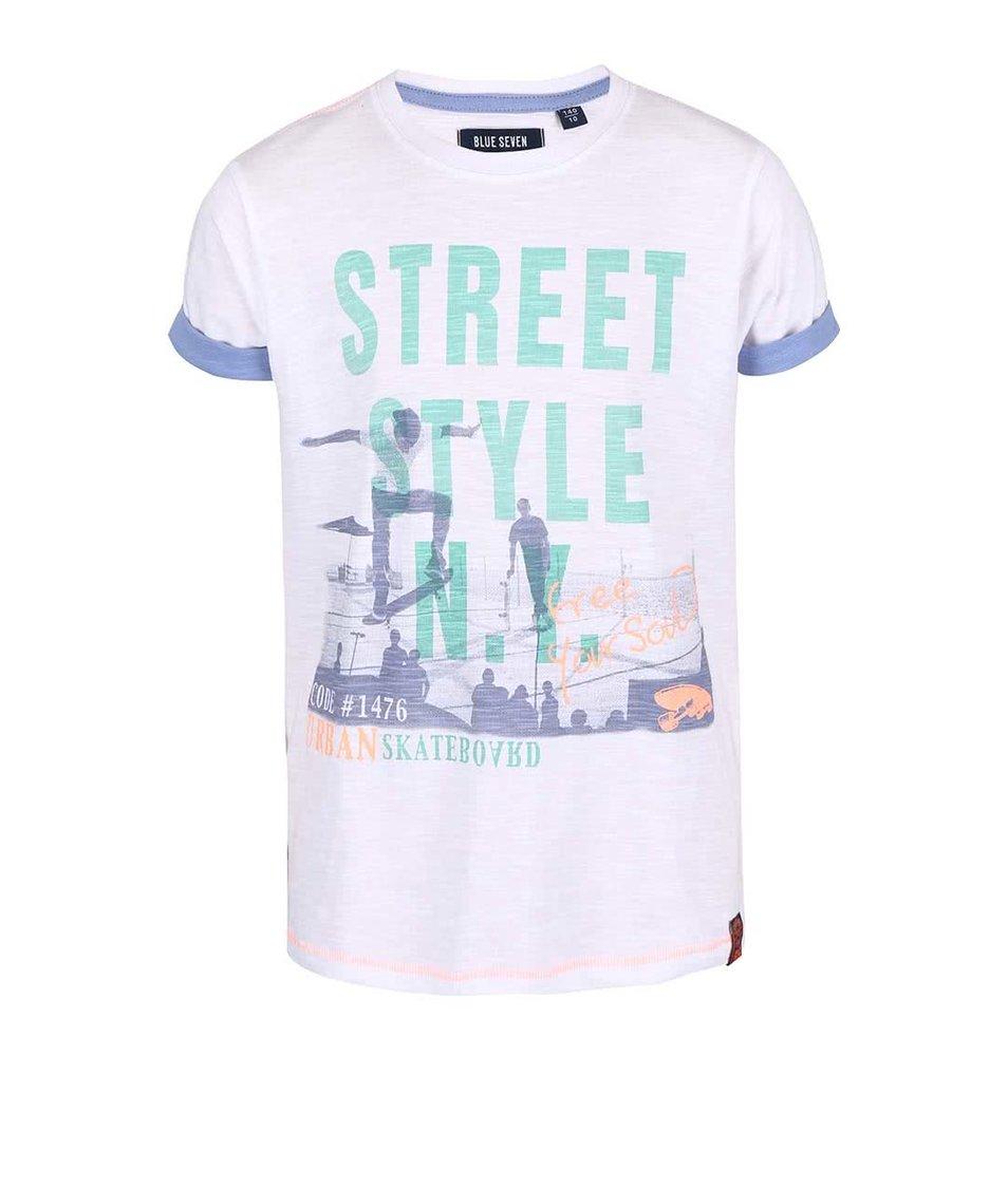 Bílé klučičí tričko s potiskem Blue Seven