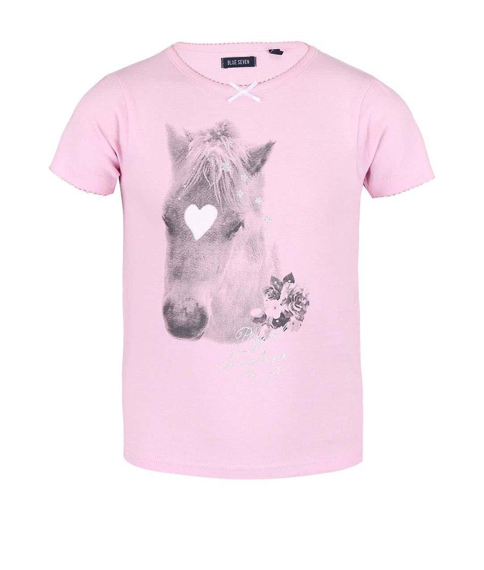Světle růžové holčičí tričko s potiskem koně Blue Seven