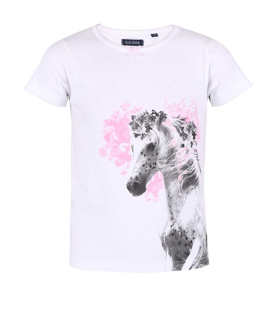 Bílé holčičí tričko s potiskem koně Blue Seven