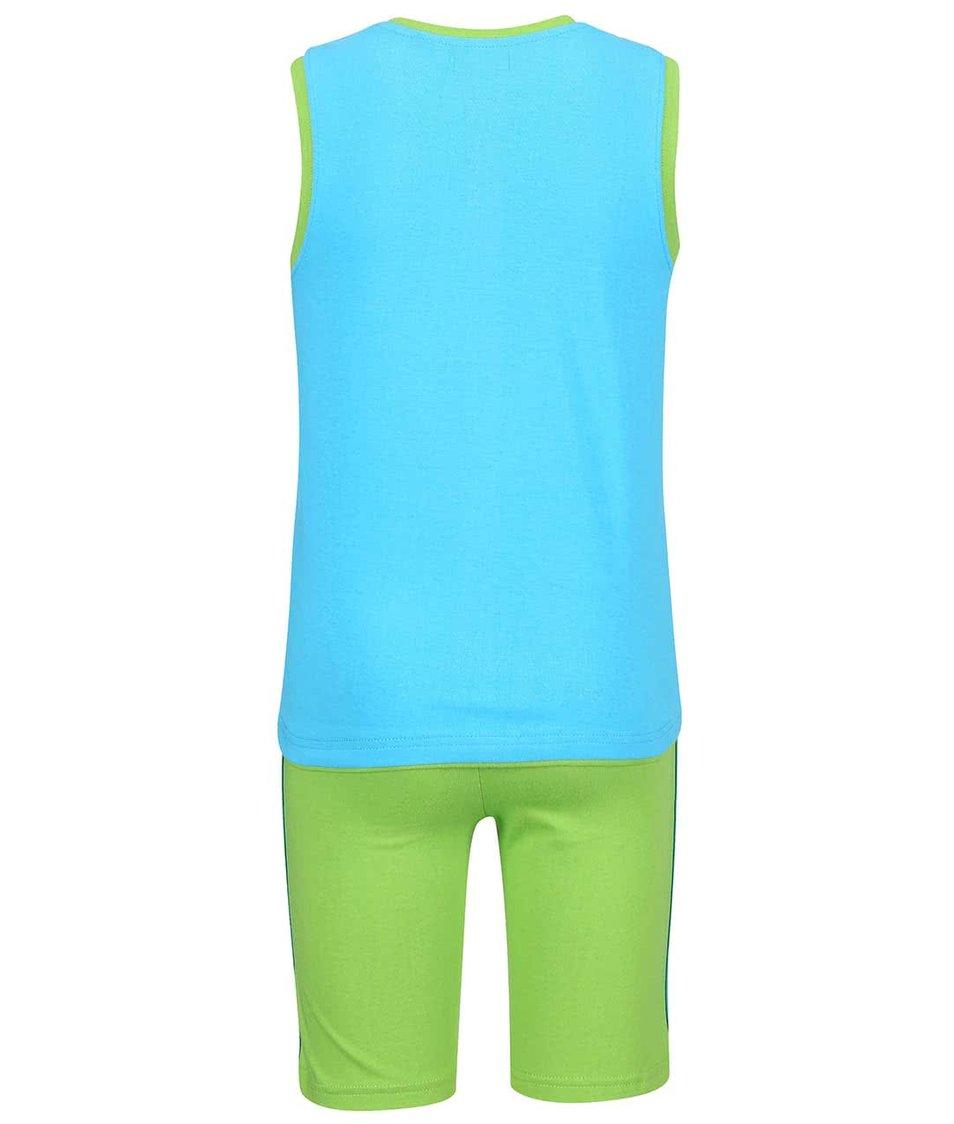 Zeleno-tyrkysový set klučičího tílka a kraťasů s potiskem Blue Seven