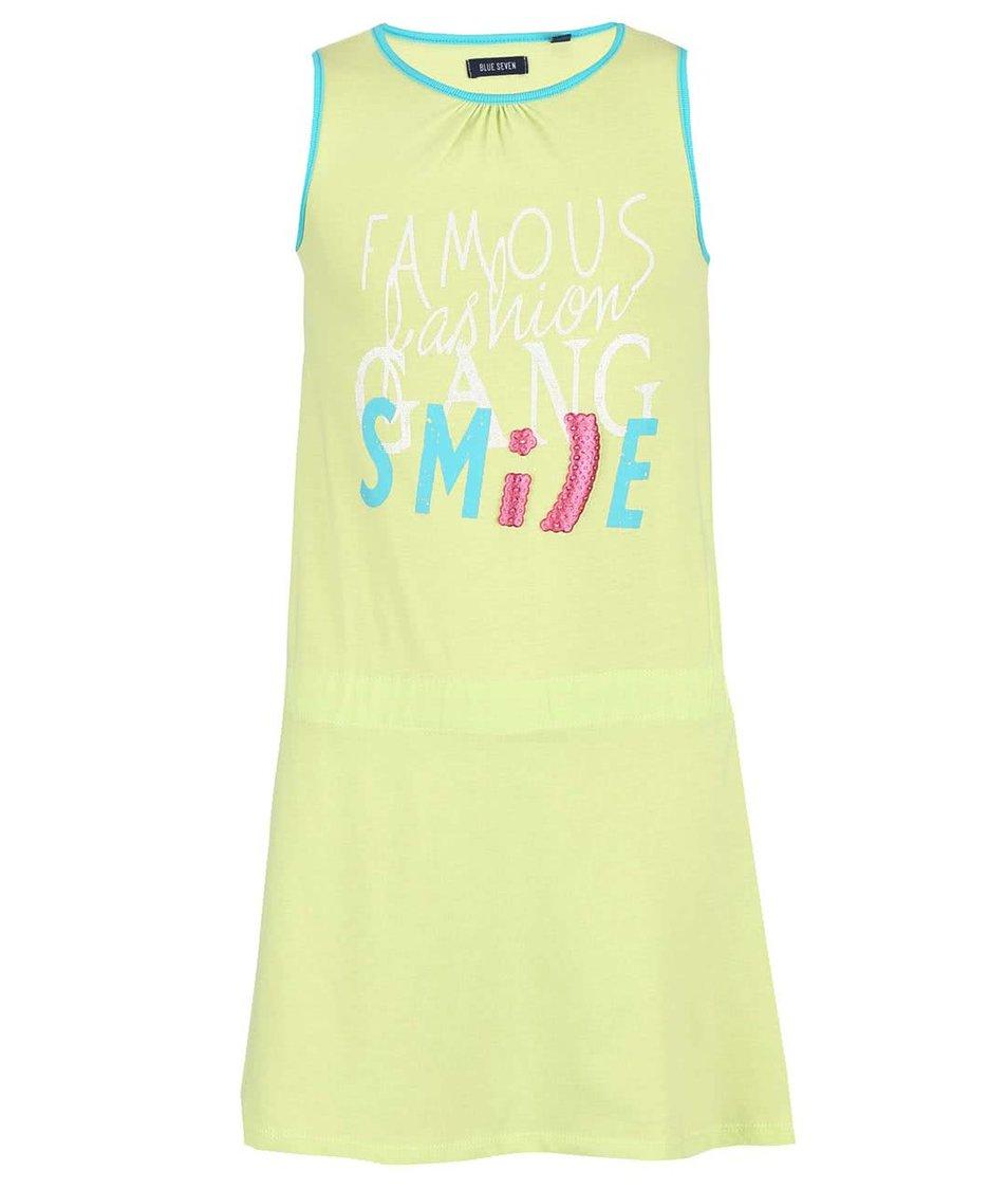 Zelené holčičí šaty s potiskem Blue Seven Smile