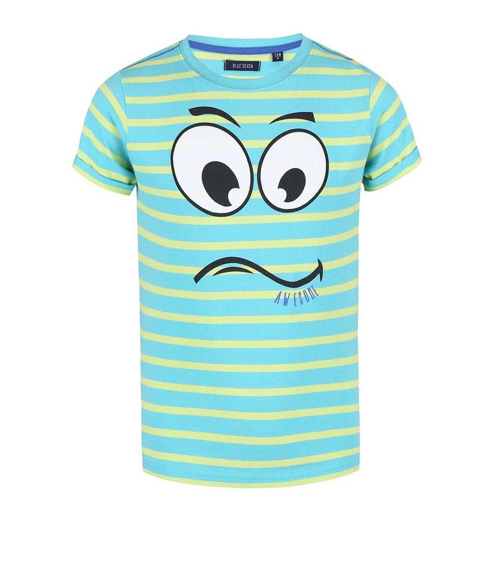 Žluto-zelené dětské triko s obličejem Blue Seven