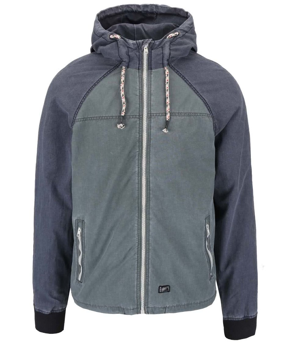 Šedo-zelená lehká bunda s kapucí Blend