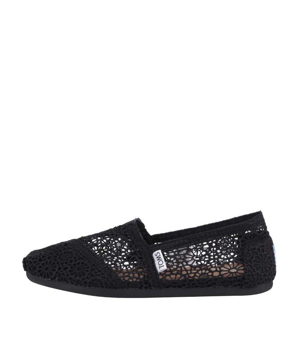 Černé háčkované loafers TOMS