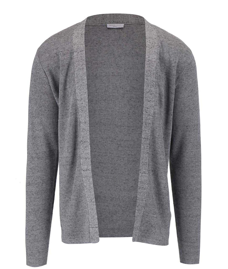 Šedý žíhaný cardigan Selected Homme Chad