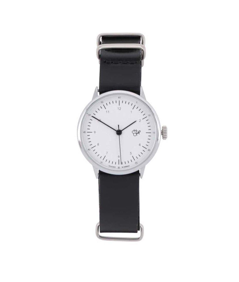 Černé dámské hodinky s koženým páskem Cheapo Harold Mini