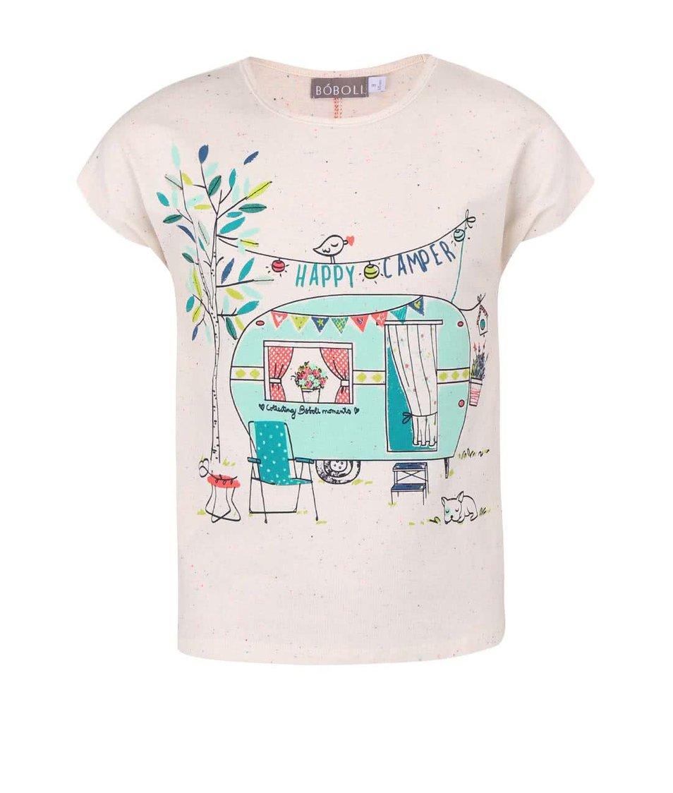 Krémové holčičí tričko s barevným potiskem BÓBOLI