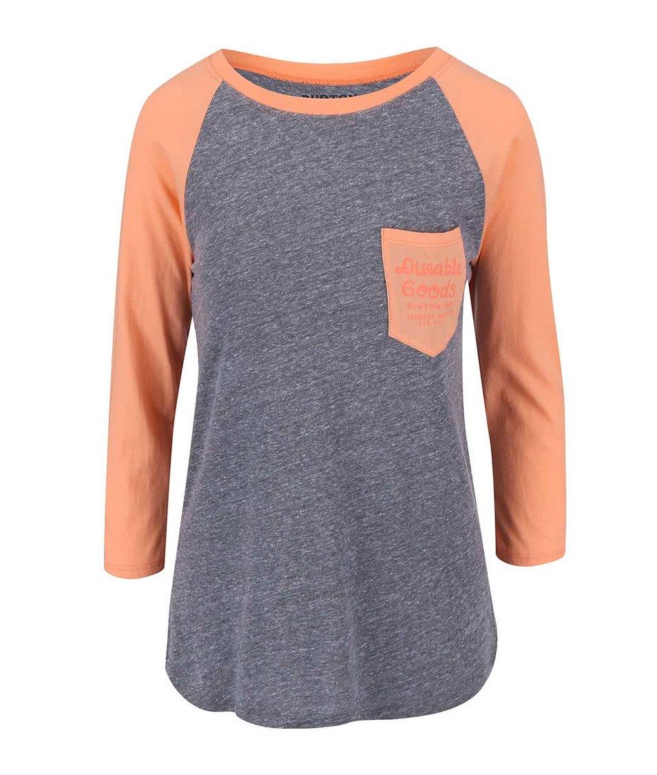Oranžovo-šedé dámské tričko Burton Trusted Raglan
