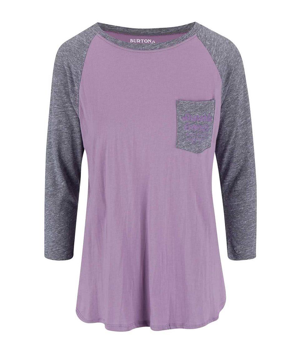 Šedo-fialové dámské tričko Burton Trusted Raglan