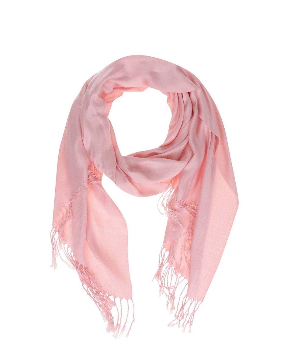 Světle růžový šátek s třásněmi INVUU London