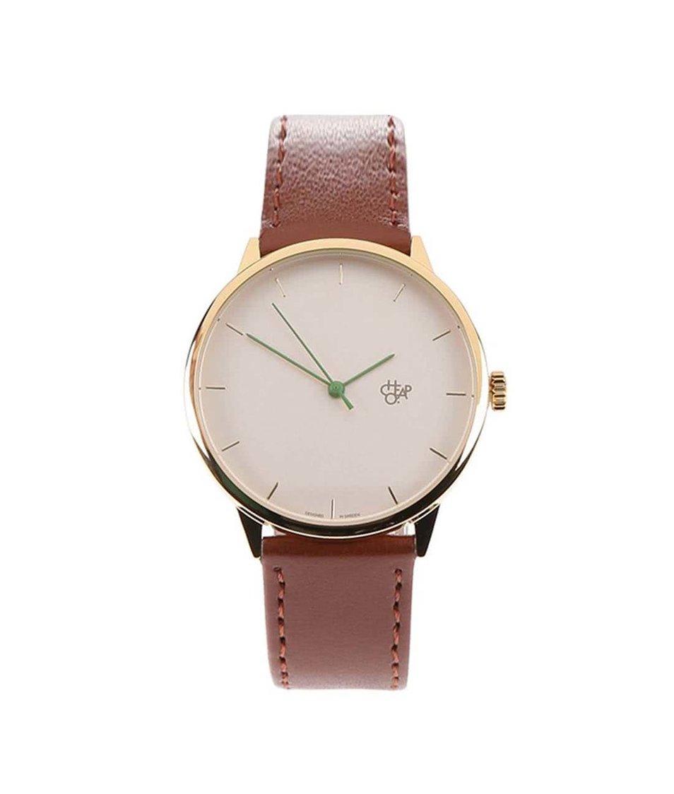 Hnědé unisex hodinky minimalistické Cheapo Nawroz