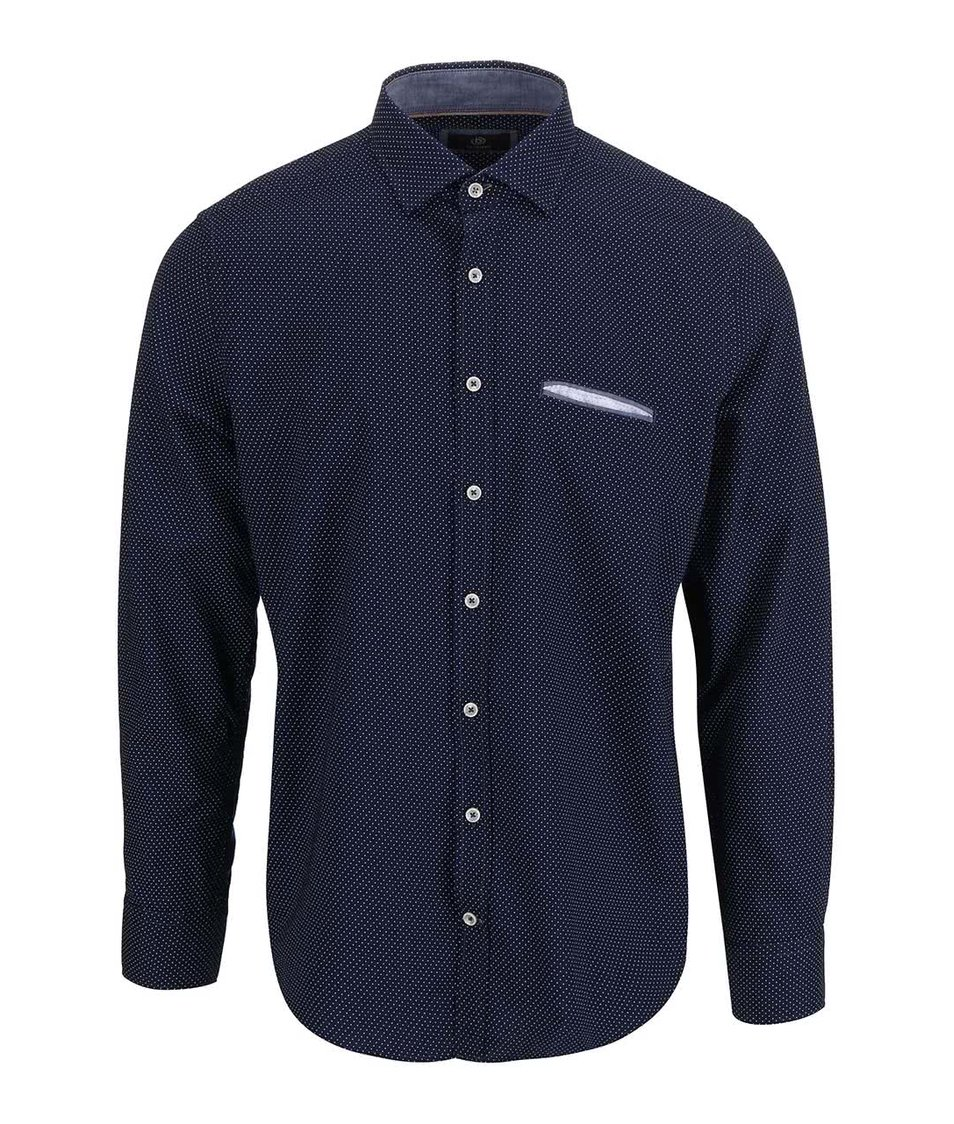 Modrá pánská puntíkovaná košile bugatti - Akční cena  6580a335a6