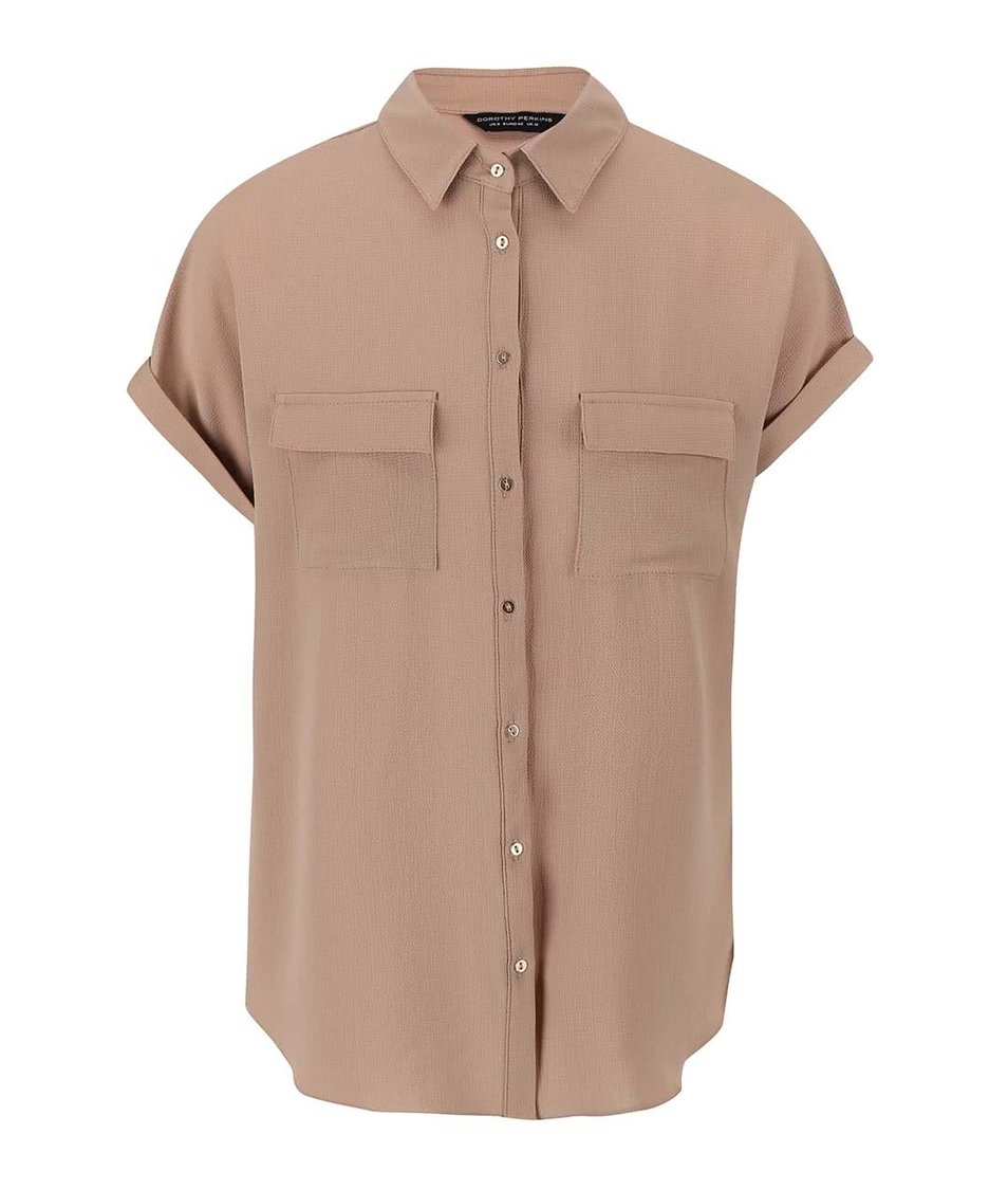 Béžová košile s krátkými rukávy Dorothy Perkins