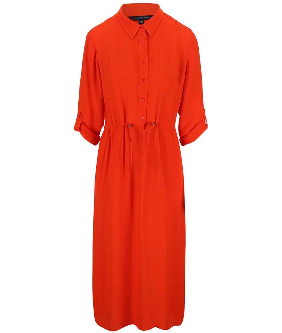 Oranžové šaty s límečkem French Connection Cecil