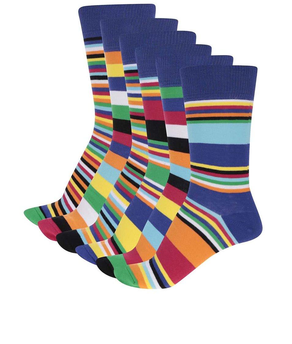 Sada šesti pánských pruhovaných ponožek Oddsocks Sowe
