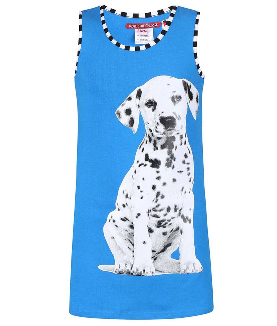 Modré šatičky s potiskem LoveStation22 Dalmatier