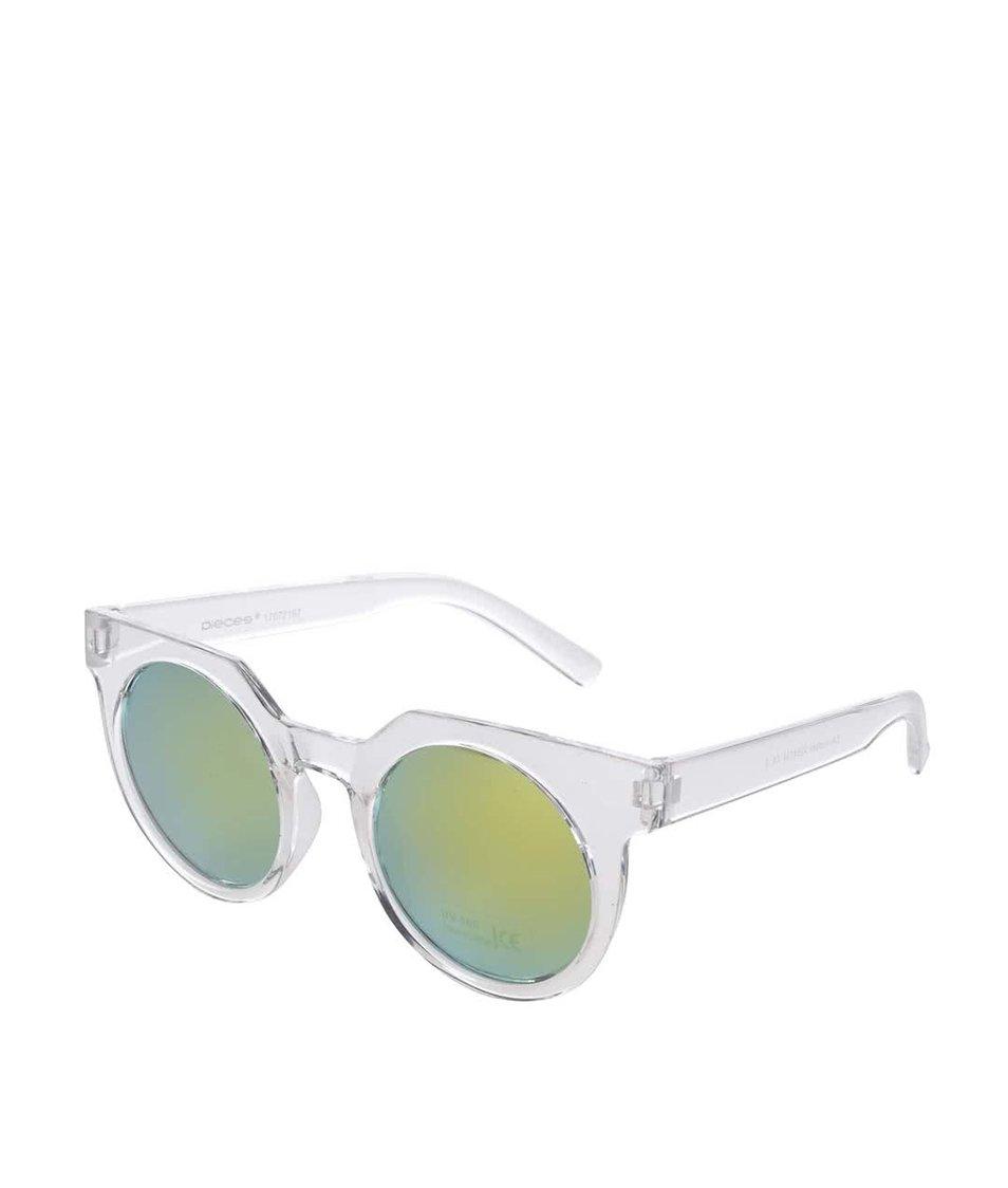 Bílé transparentní sluneční brýle Pieces Terri