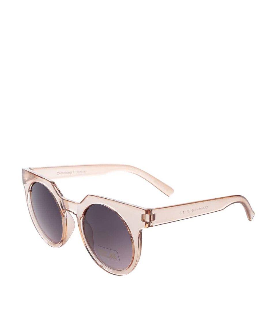 Růžové transparentní sluneční brýle Pieces Terri