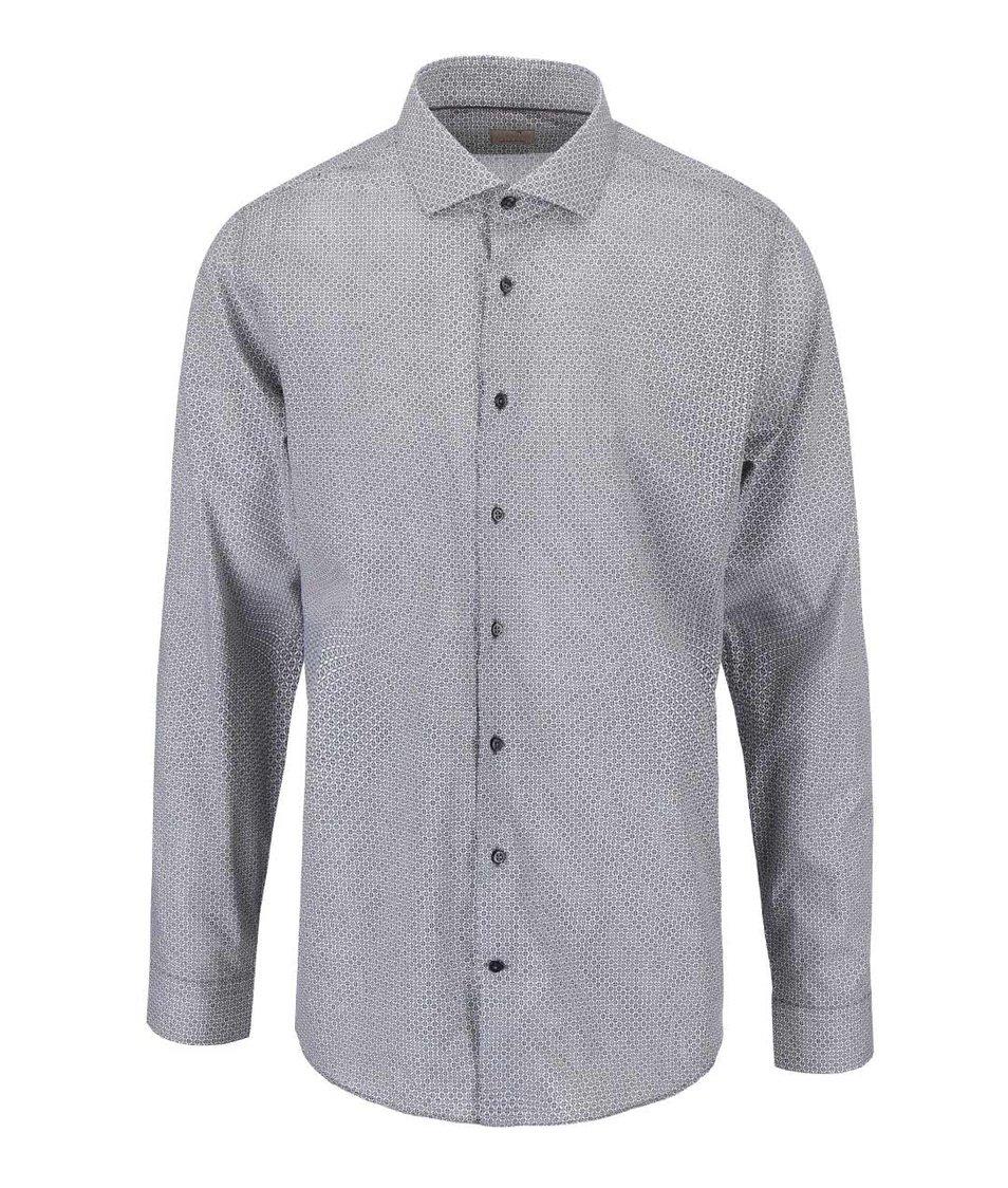 Černo-bílá košile s drobným vzorem Seidensticker Shark Tape Slim Fit