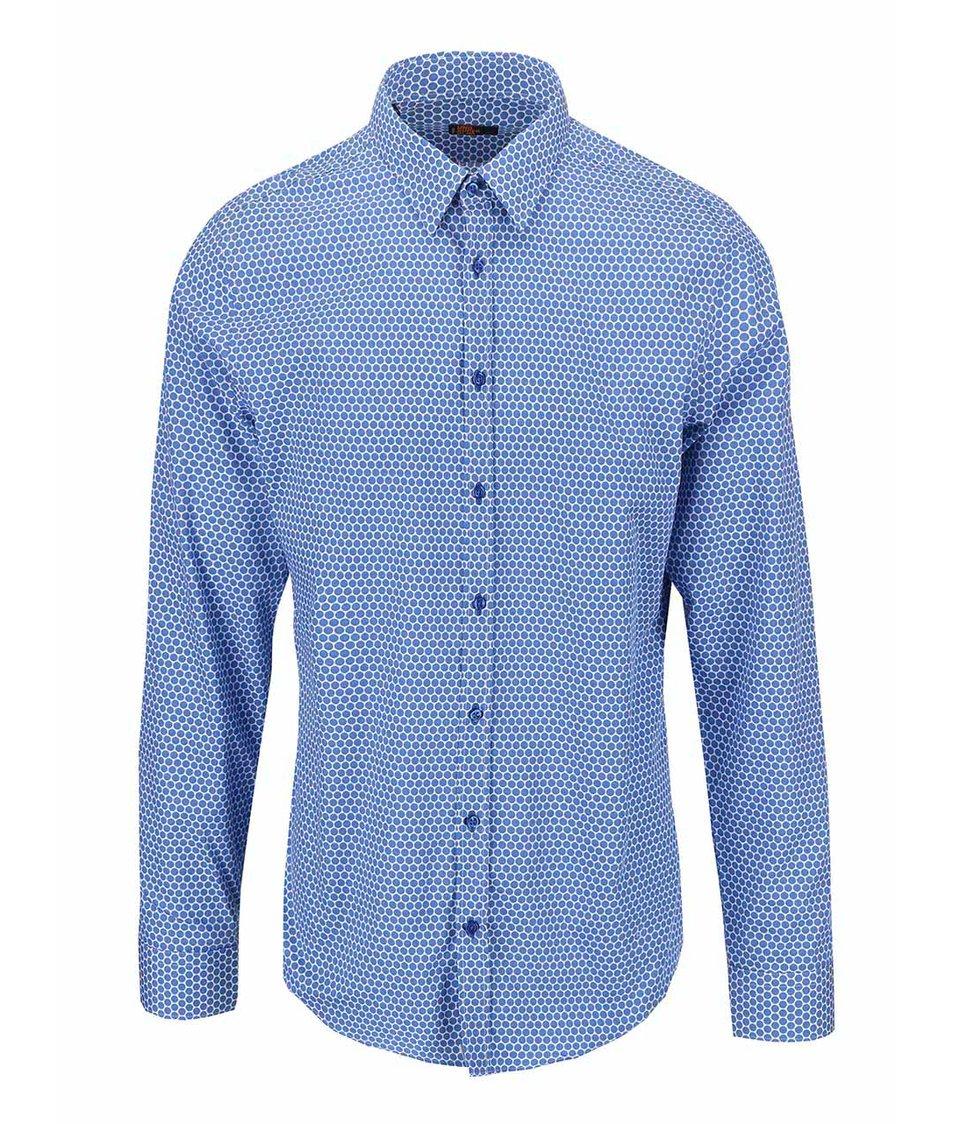 Bílo-modrá puntíkovaná košile Seidensticker Kent Uno Super Slim