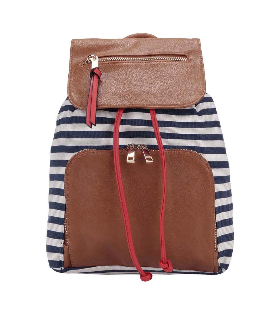 Hnědý batoh s bílo-modrými pruhy ALDO Shim