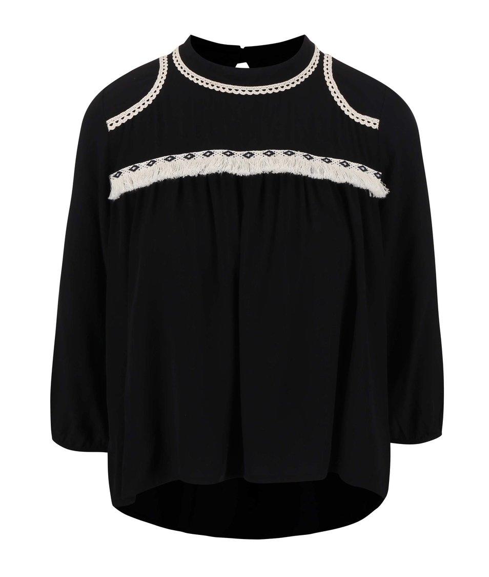 Černý dámský top s krajkovou dekorací Alchymi Tourmaline