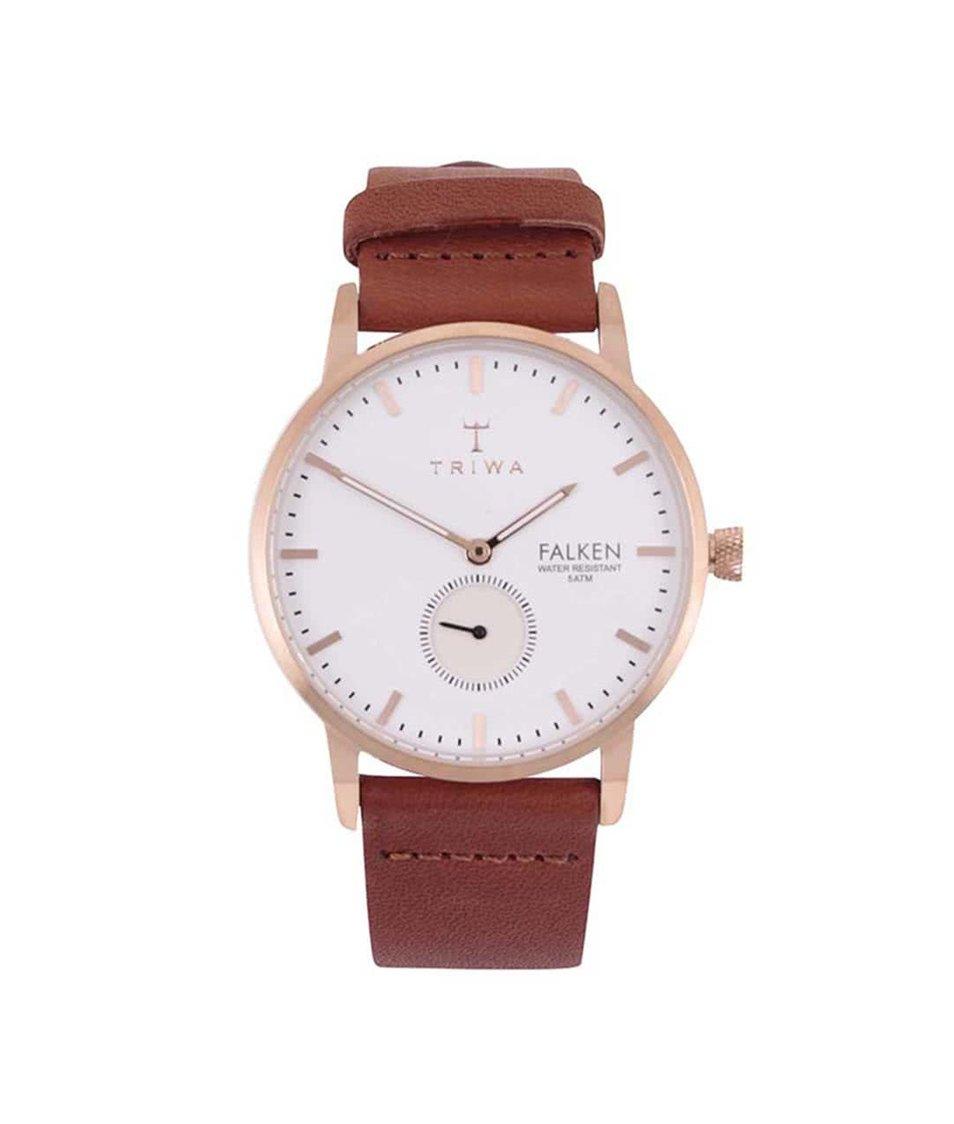 Hnědé kožené unisex hodinky TRIWA Falken