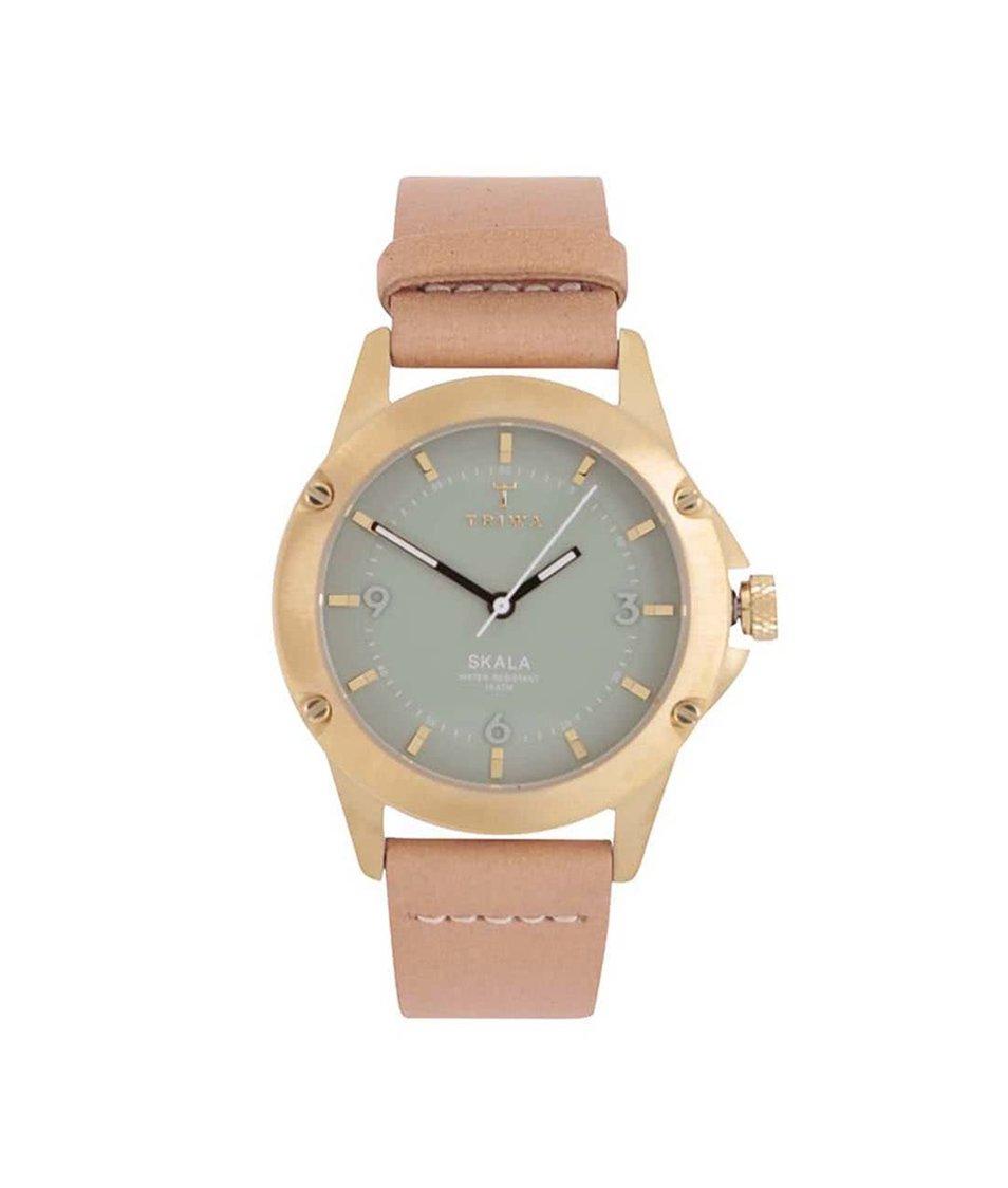 Béžové kožené unisex hodinky s mentolovým ciferníkem TRIWA Mint Skala