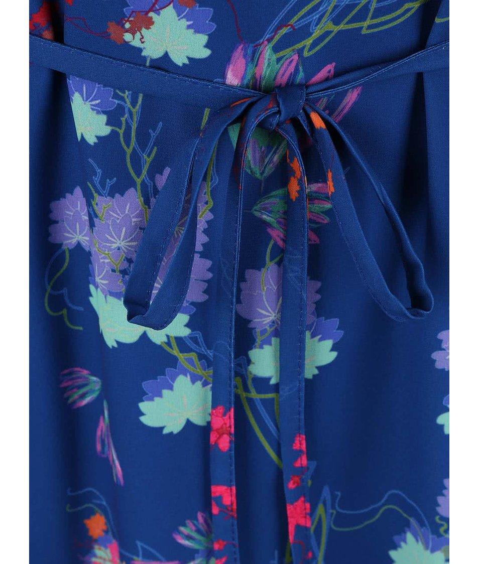 Modré květované šaty s krátkým rukávem Lavand