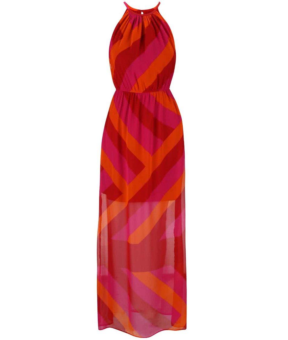 Červeno-růžovo-oranžové vzorované maxišaty Lavand