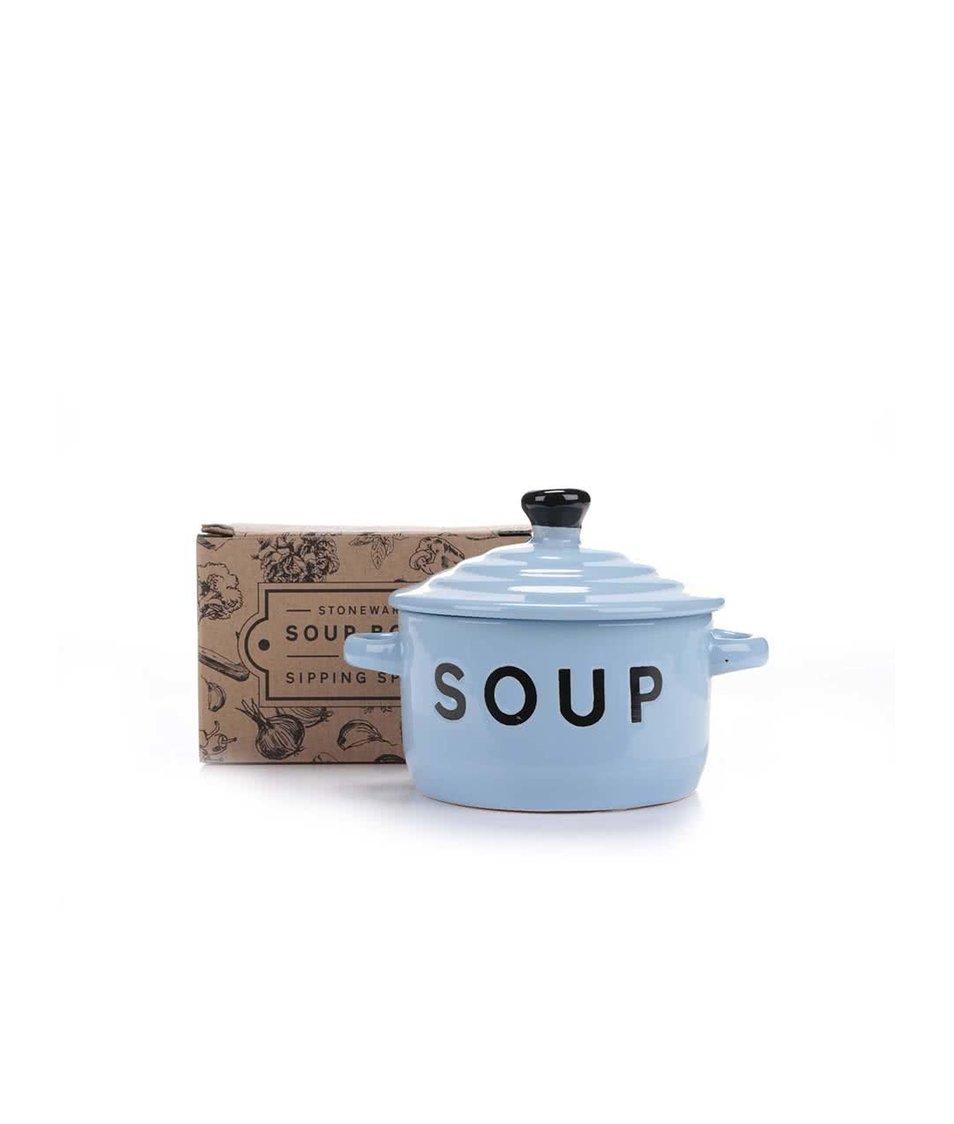 Modrá miska na polévku s pokličkou a lžící CGB
