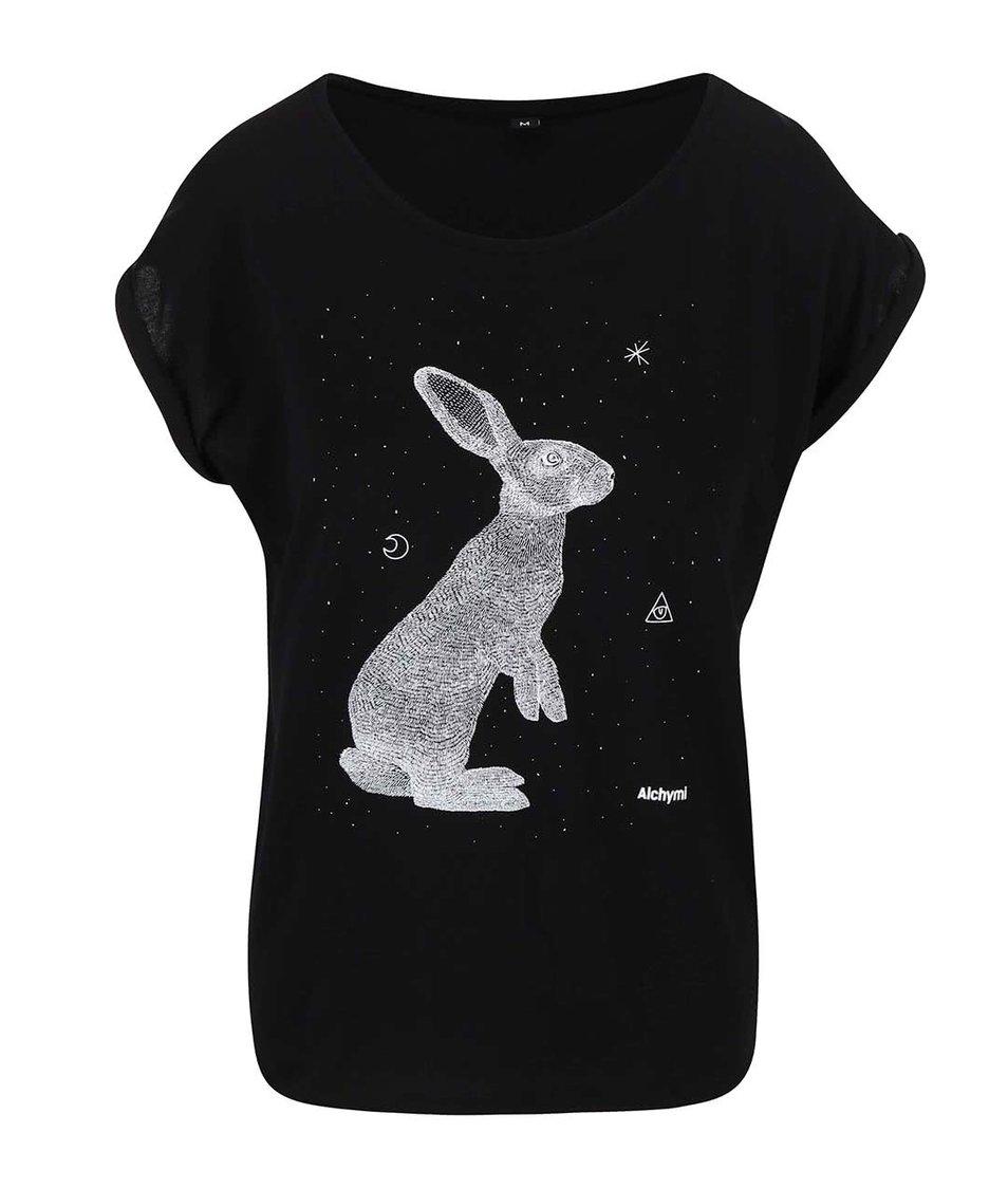 Černé tričko s potiskem Alchymi Zajíc