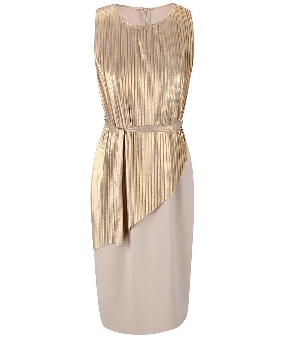 Plisované šaty ve zlato-béžové barvě Alchymi