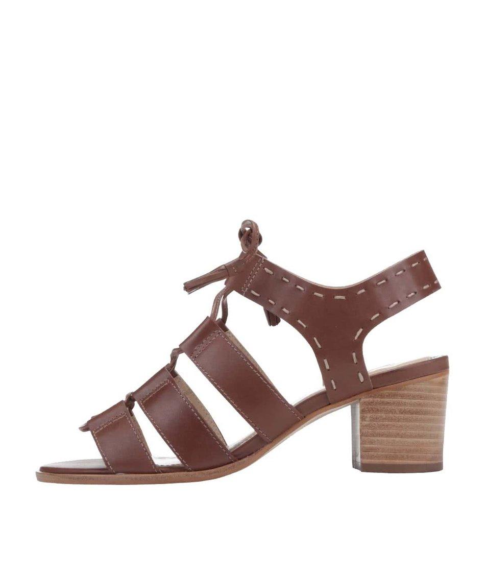 Hnědé kožené sandály na podpatku Dune London Ivanna