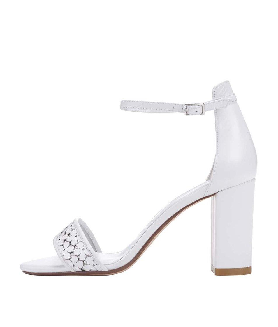 Bílé kožené sandálky na podpatku Dune London Milee