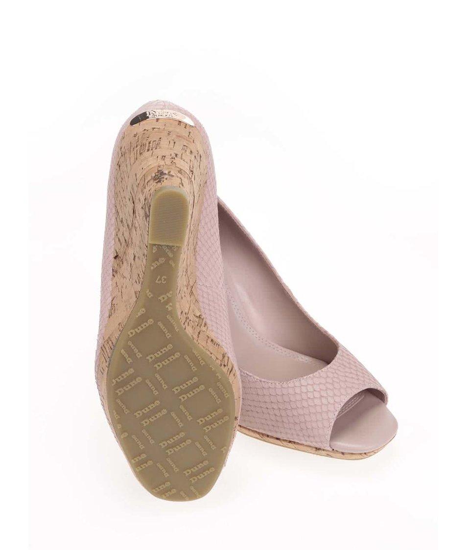 Růžové kožené sandály na klínku Dune London Charlotte