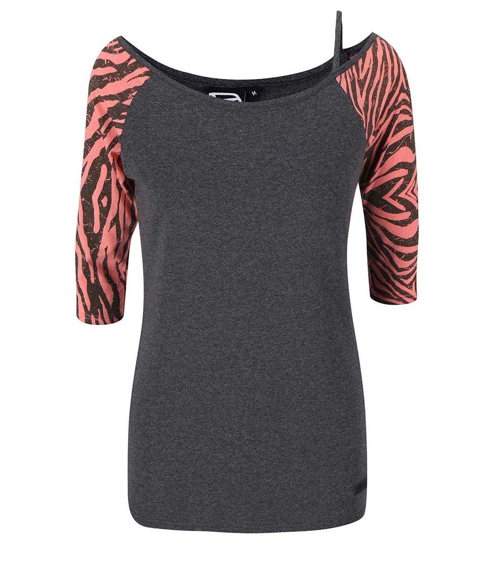 Šedé dámské tričko s růžovými rukávy Funstorm Ibule