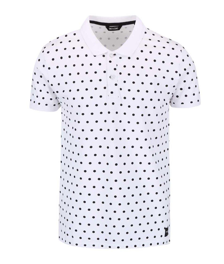 Bílé puntíkované polo triko ONLY & SONS Polka