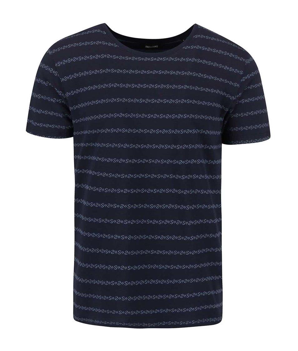 Tmavě modré pruhované triko ONLY & SONS Mort