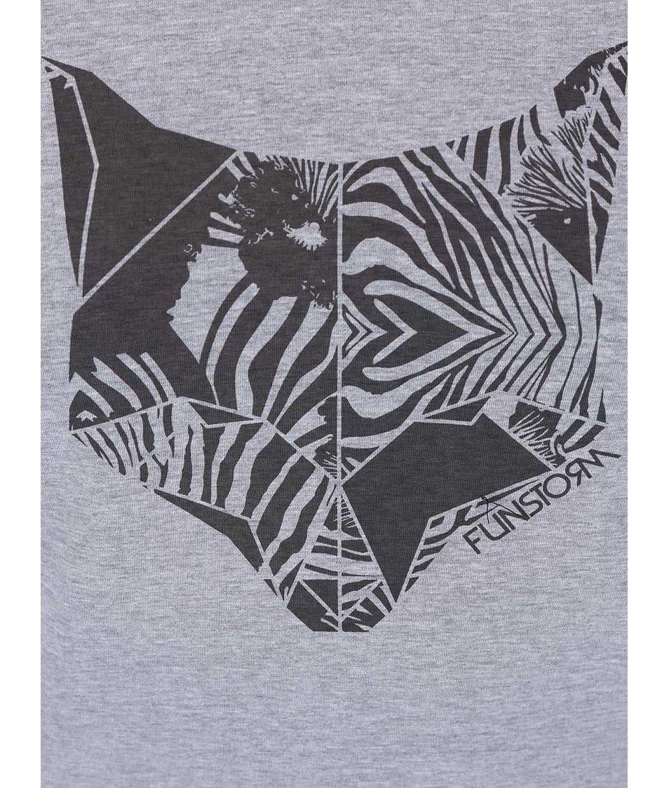 Šedé dámské tričko s potiskem lišky Funstorm Aryn