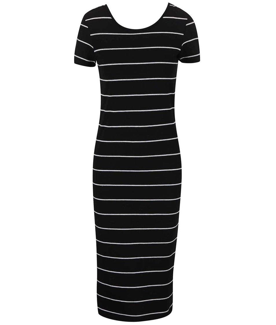 Černé dlouhé šaty s proužky Only Abbie