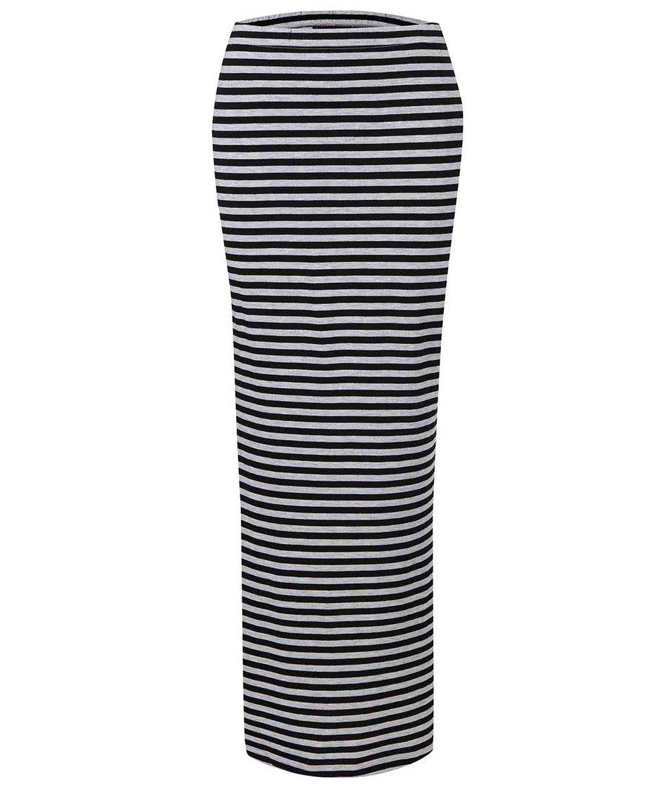 Černá dlouhá sukně s pruhy a s rozparky ONLY Abbie