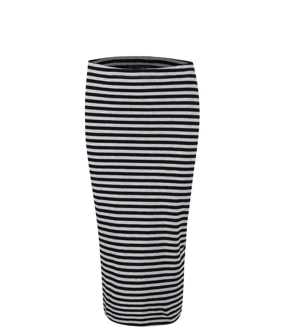 Černo-šedá pruhovaná delší sukně Only Abbie