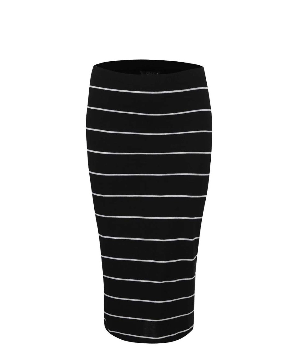 Černá pruhovaná delší sukně Only Abbie