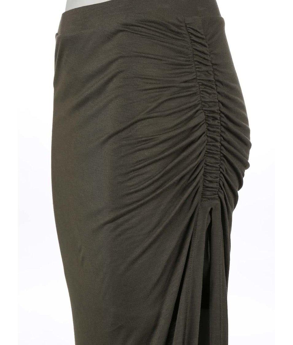 Khaki asymetrická sukně Only New Ria
