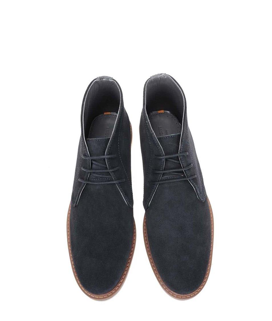 Tmavě modré kožené kotníkové boty Frank Wright Barnet