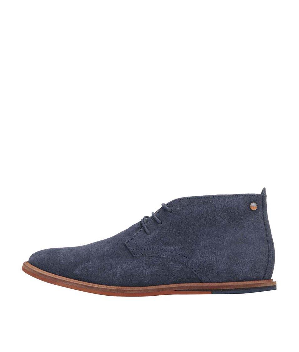 Tmavě modré kožené kotníkové boty Frank Wright Strachan