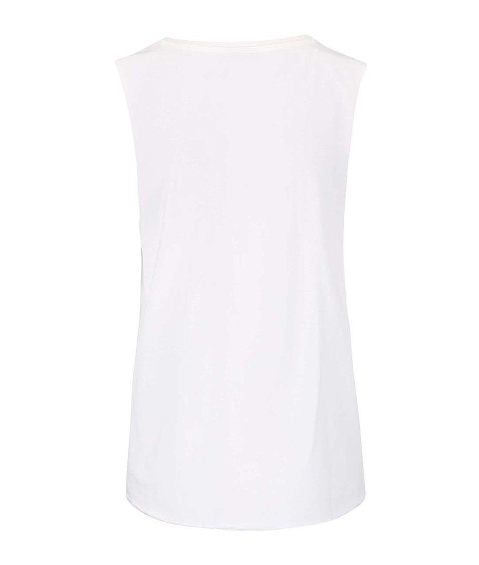 Bílé tričko bez rukávů s potiskem Vero Moda Julie